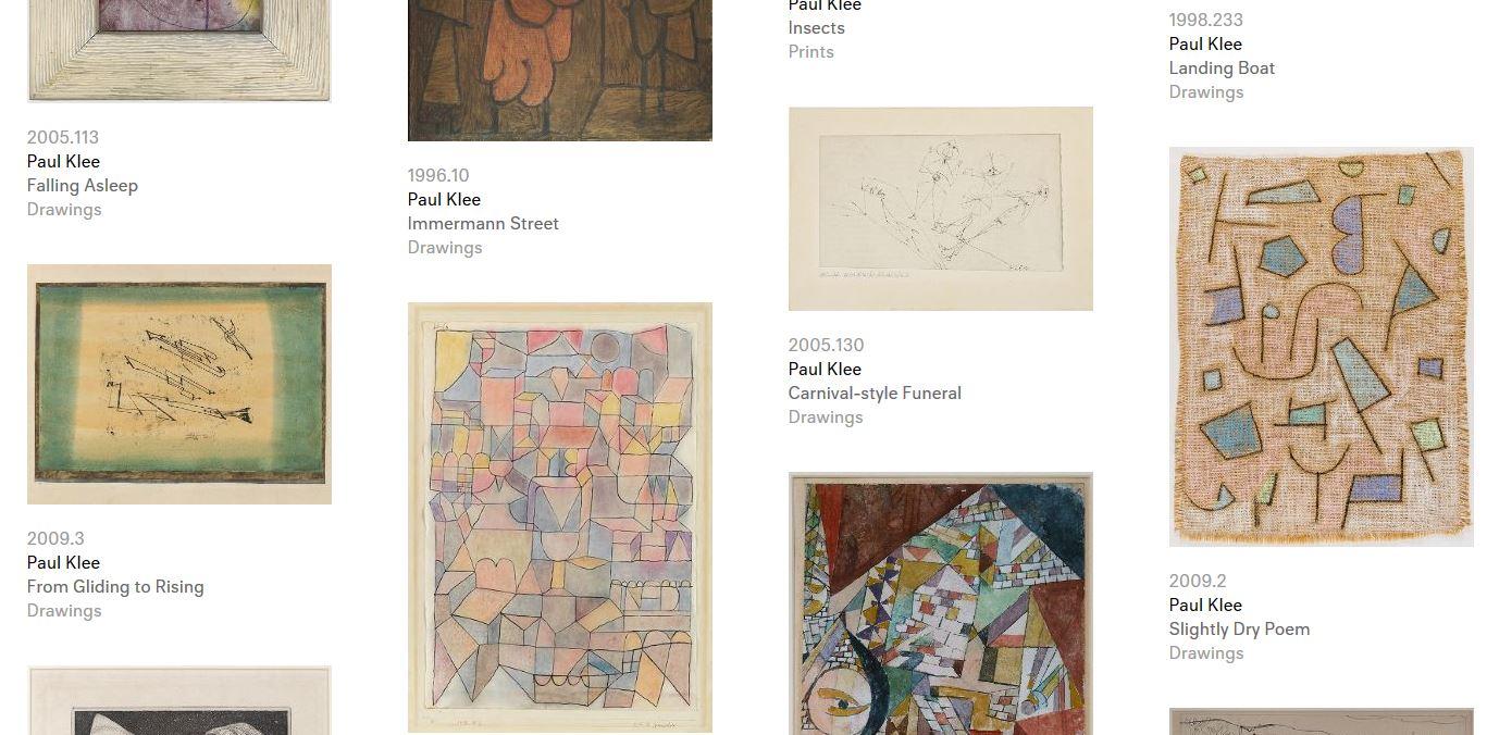 Captura de la web del archivo con la búsqueda de 'Paul Klee'