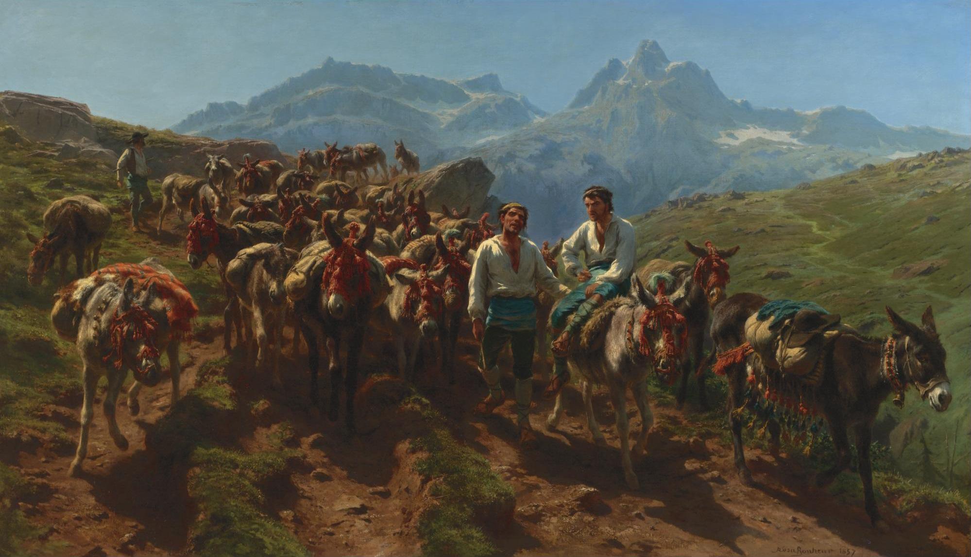 Muletiers espagnols traversent les Pyrénées - Rosa Bonheur, 1875 - Dominio público