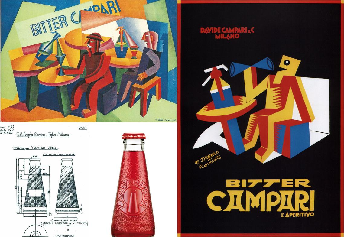 Dos pósters y la botella de Campari Soda de 1932, tres diseños de Depero