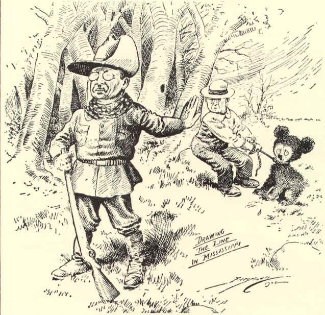 Viñeta política del dibujante Clifford Berryman que ilustraba en 1902 el incidente de Theodore Roosevelt con un oso - Foto: Wikimedia Commons