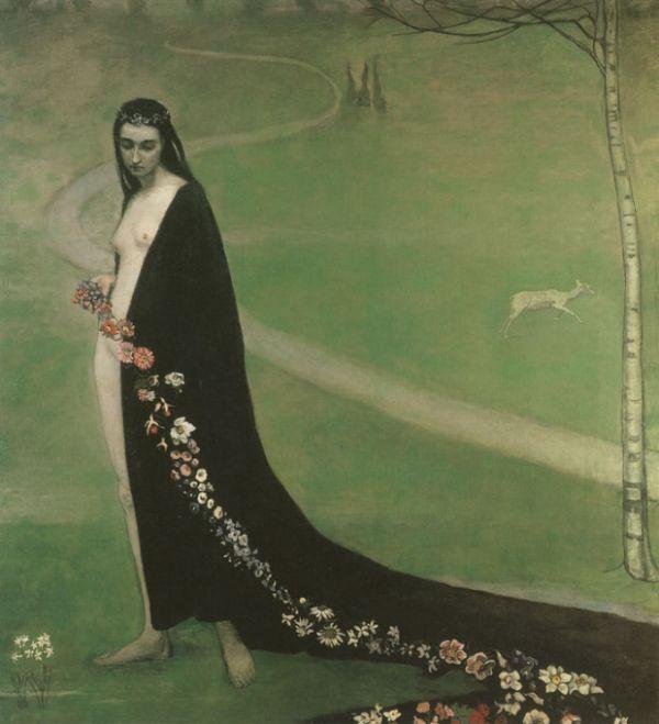 Romaine Brooks - Femme aves des fleurs, 1912 - Smithsonian American