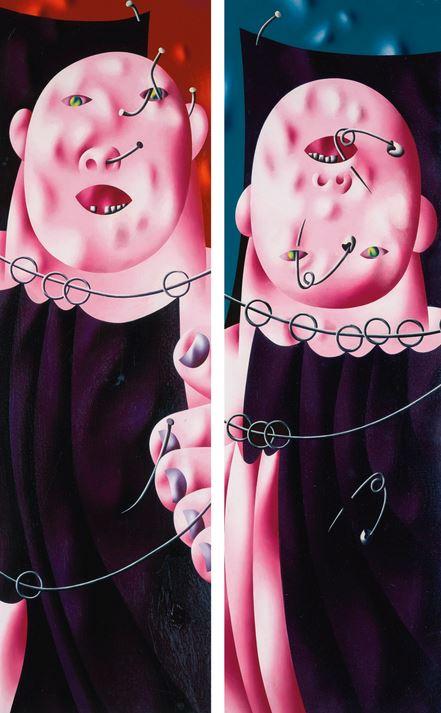 'Circus' (díptico), 1969 - Oleg Tselkov - Cortesía: Sotheby's