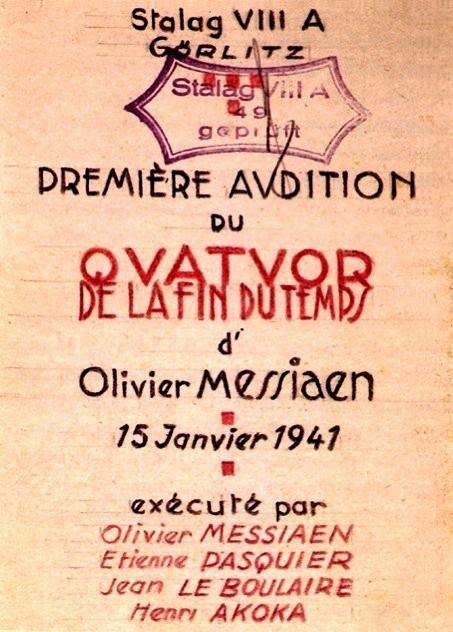 Cartel para el estreno de 'Cuarteto para el fin de los tiempos' en el campo de concentración