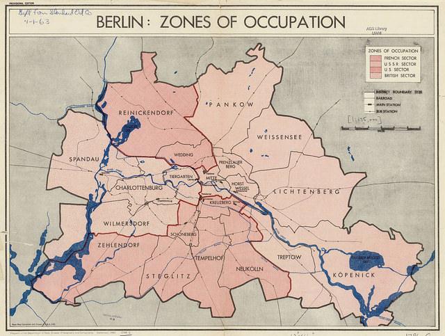 Mapa del reparto de Berlín entre las potencias aliadas en 1945