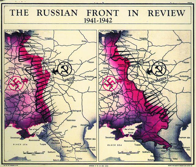Evolución del frente ruso de la II Guerra Mundial en un mapa de la CIA de 1942