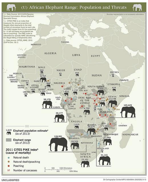 Mapa con el número de elefantes en África en 2013