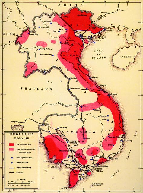 El avance nacionalista-comunista en la Indochina francesa en un mapa de la CIA de 1951