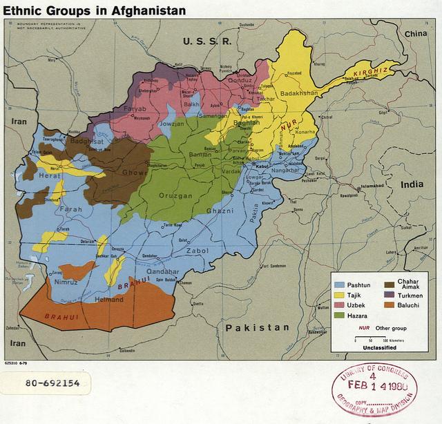 Mapa de la CIA sobre grupos étnicos de Afganistán en 1979