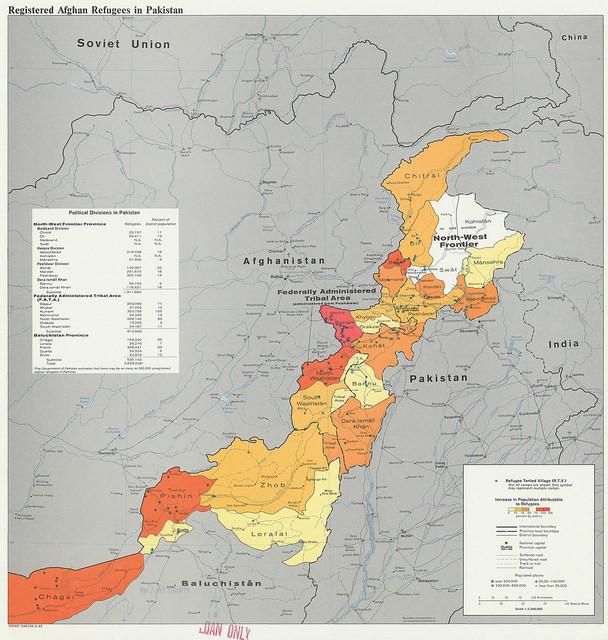 Refugiados afganos en Pakistán en un mapa de la CIA de 1982