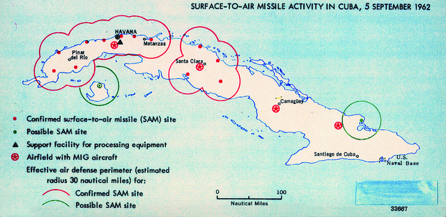 Actividad de misiles tierra-aire en Cuba en 1962 según un mapa de la CIA