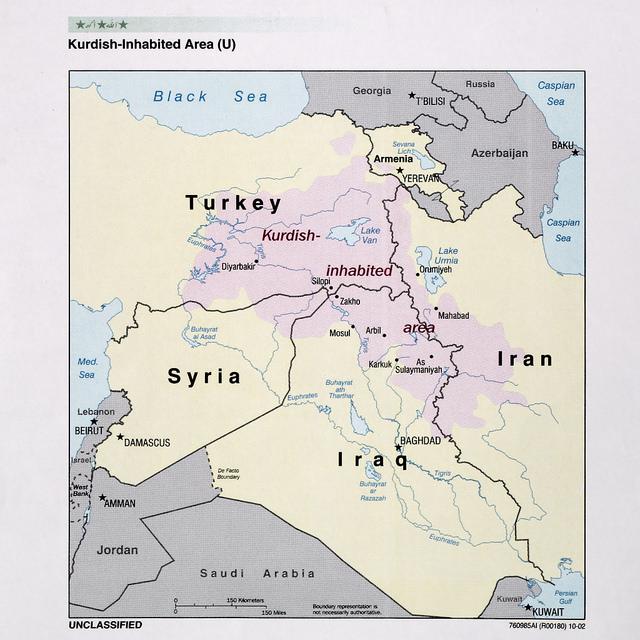 Zonas habitadas por el pueblo kurdo en 2002, según un mapa de la CIA