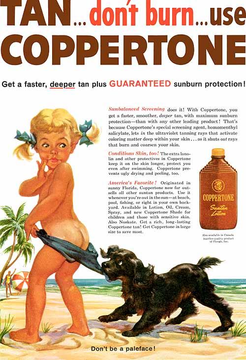 El anuncio de Coppertone ilustrado por Joyce Ballantyne en 1959
