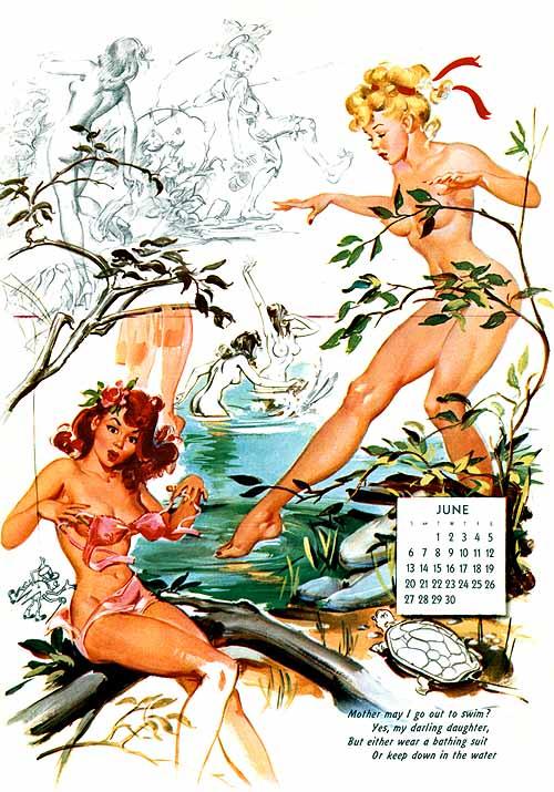Boceto para el mes de junio de un calendario ilustrado por Ballantyne en 1956