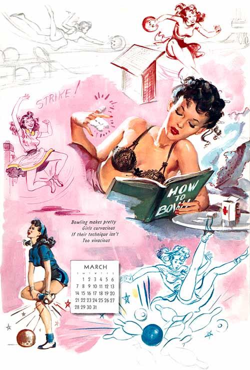 Boceto para el mes de marzo de un calendario ilustrado por Ballantyne en 1956