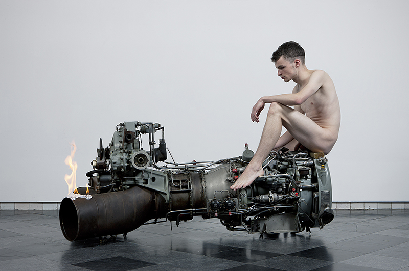 Roger Hiorns, Untitled, 2011, Military aircraft engine, fire, youth, Dimensions variable, Courtesy the artist. © Roger Hiorns. All Rights Reserved, DACS 2016