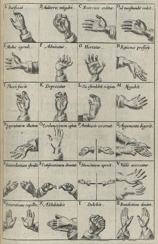 Ilustraciones del libro 'Chirologia, or The Natural Language of the Hand' (1644) - Escaneo de Folger Shakespeare Library, Washington D.C