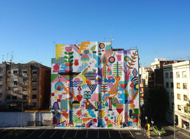 'Jardín Mágico', mural en Hospitalet creado por Hamada en colaboracion con Zosen - Foto: @feralcala