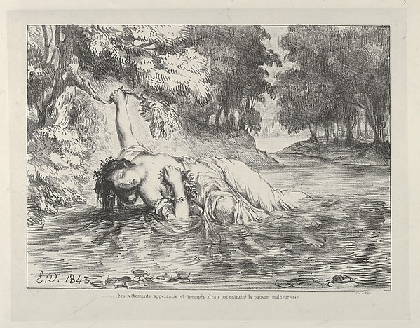 """The Death of Ophelia"" by Eugène Delacroix (French, Charenton-Saint-Maurice 1798–1863 Paris), Villain (French, active 1822–53), William Shakespeare (British, Stratford-upon-Avon 1564–1616 Stratford-upon-Avon) via The Metropolitan Museum of Art is licensed under CC0 1.0"