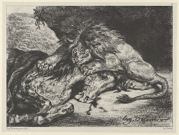 """Lion Devouring a Horse"" by Eugène Delacroix (French, Charenton-Saint-Maurice 1798–1863 Paris) via The Metropolitan Museum of Art is licensed under CC0 1.0"
