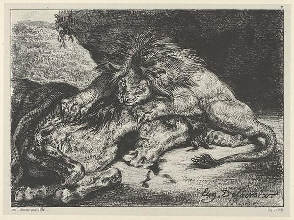"""""""Lion Devouring a Horse"""" by Eugène Delacroix (French, Charenton-Saint-Maurice 1798–1863 Paris) via The Metropolitan Museum of Art is licensed under CC0 1.0"""