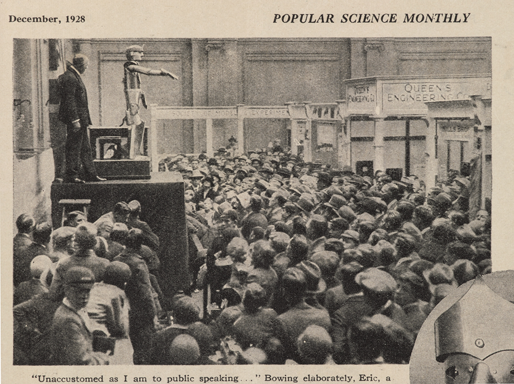 Popular Science Monthly, December 1928 showing Eric the talking robot opening the Model Engineering Exhibition in London