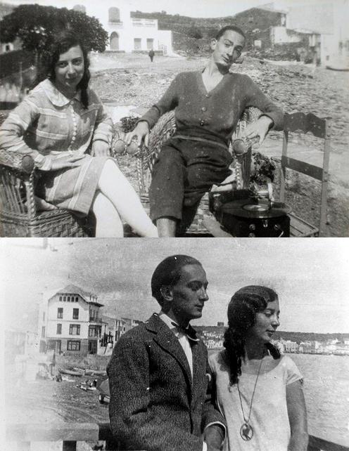Anna María Dalí con su hermano Salvador (arriba) y con García Lorca. Ambas fotos son en Cadaqués en torno a 1935