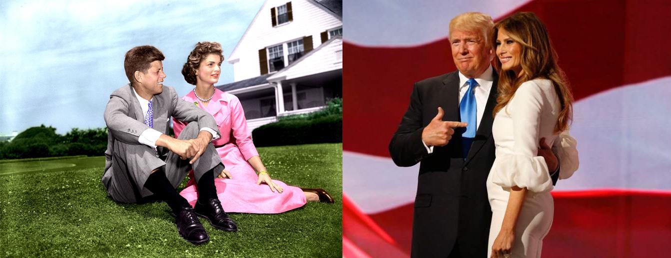 Izquierda, JFK y Jackie, 1953 [Foto: Jacques Lowe]. Al lado, Donald y Melania Trump, 2017 [Foto: EFE]