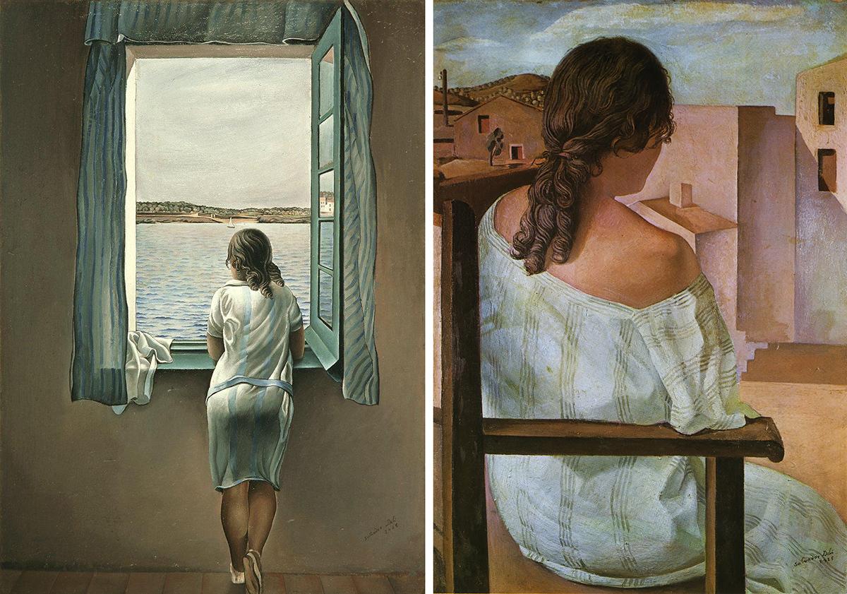 Dos retratos de Anna María de espaldas pintados por Salvador Dalí - Imágenes: Wikipedia