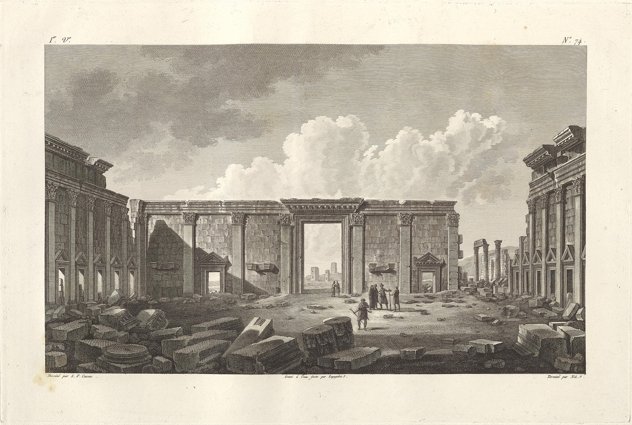 Zenobia's Palace, Lepagelet and François-Denis Née after Louis-François Cassas. From 'Voyage pittoresque de la Syrie, de la Phoénicie, de la Palestine, et de la Basse Egypte' (Paris, ca. 1799). The Getty Research Institute