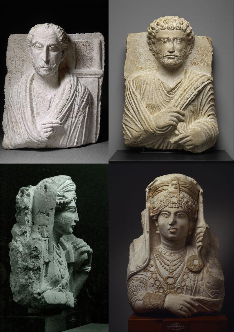 Cuatro bustos funerarios encontrados en las excavaciones de Palmira. The J. Paul Getty Museum at the Getty Villa