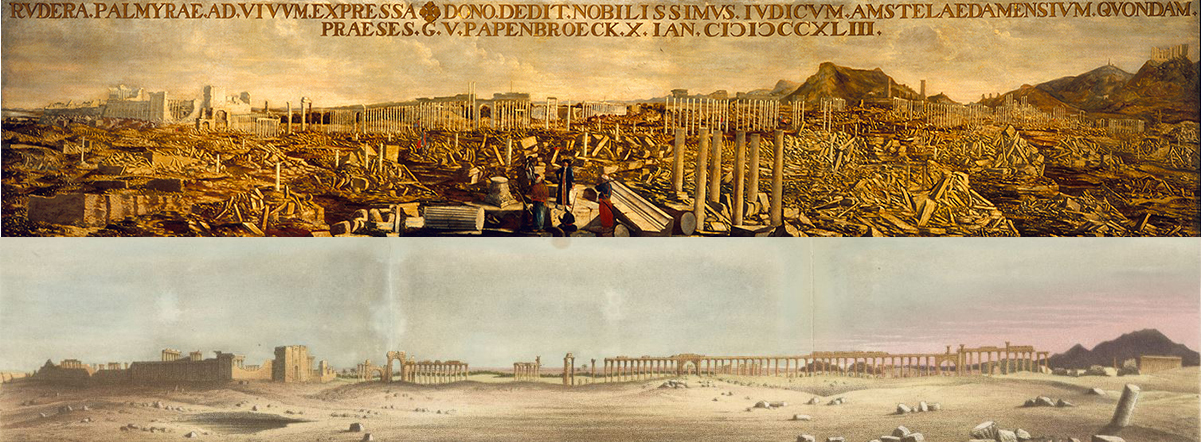 Arriba: View of the Ruins of Palmyra, G. Hofstede van Essen, 1693. Allard Pierson Museum. Courtesy of the University of Amsterdam. Abajo: - Panorama of Palmyra, Nicholas Hanhart after Emily Anne Beaufort Smythe. From 'Egyptian Sepulchres and Syrian Shrines'. London, 1862 The Getty Research Institute