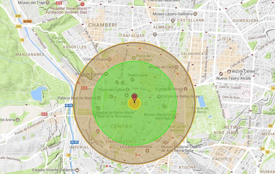 Proyección del efecto sobre Madrid de la bomba atómica probada por Korea del Norte en 2013 - Nukemap