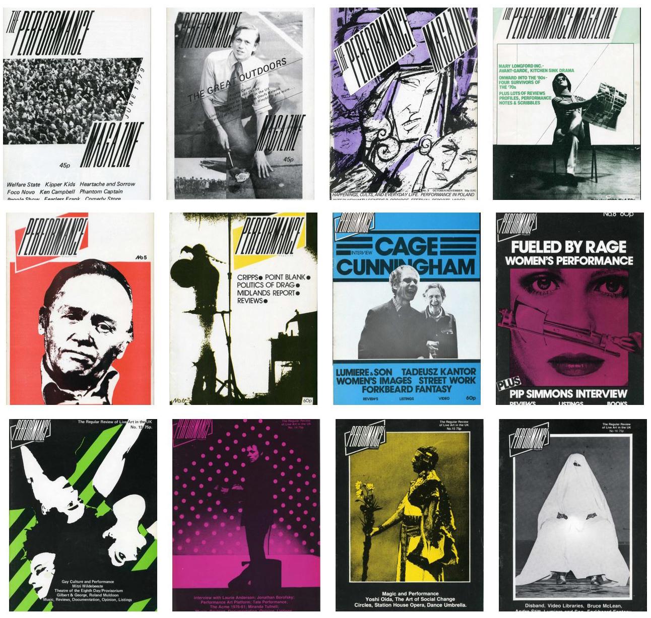 Las portadas de los nueve primeros números de Performance Magazine