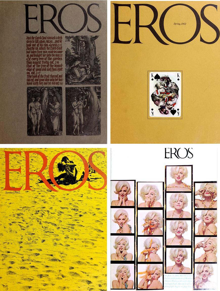Portadas de los cuatro ejemplares de 'Eros'