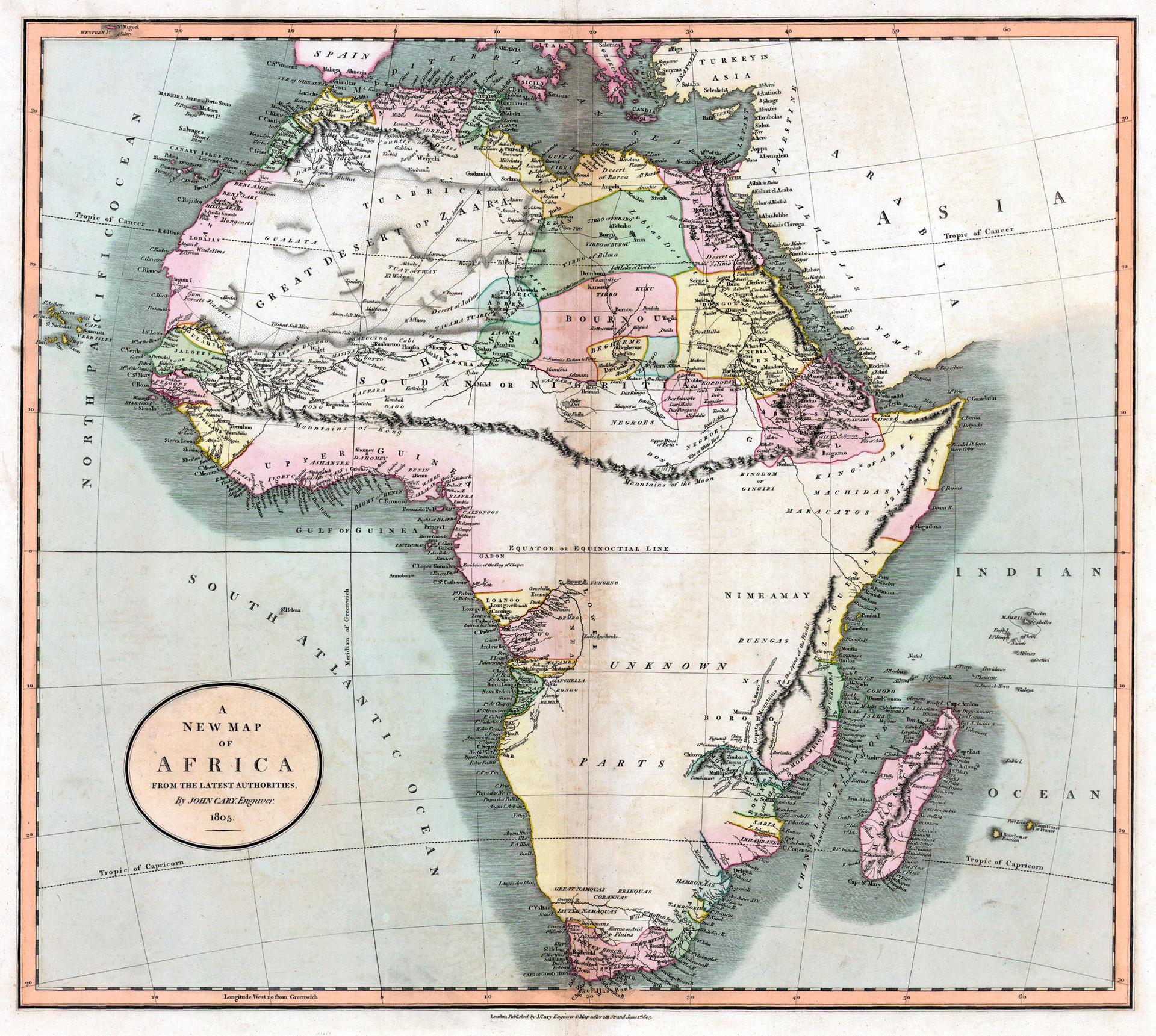 Mapa del siglo XIX en el que aparece las montañas de Kong. Fuente: Wikipedia