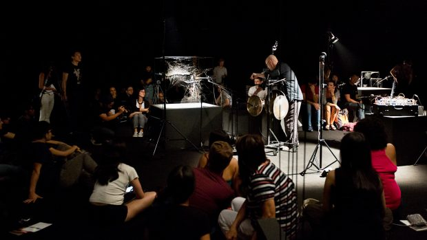 """omás Saraceno. """"Arachnid Orchestra. Jam Sessions"""", at NTU Centre for Contemporary Art, Singapore, 2015. Curated by Ute Meta Bauer with Anca Rujoiu. Courtesy: the Artist and Esther Schipper Gallery, Berlin; Andersen Contemporary, Copenhagen; Pinksummer Gallery, Genoa; Tanya Bonakdar Gallery, New York. © Photography by Studio Tomás Saraceno, 2015"""