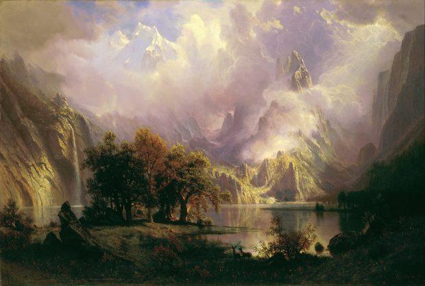 Paisaje de las Montañas Rocosas, de Albert Bierstadt. 1870. Wikimedia Commons.