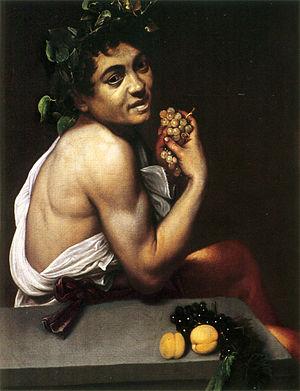 """Autorretrato de Caravaggio en """"Baco enfermo"""". 1593-1594. Wikimedia Commons."""