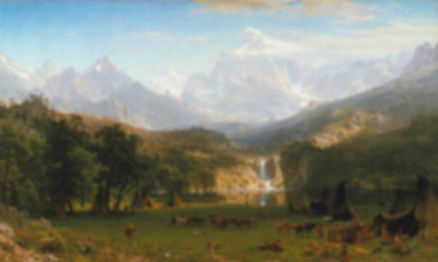 Montañas rocosas de Albert Bierstadt, borroso.