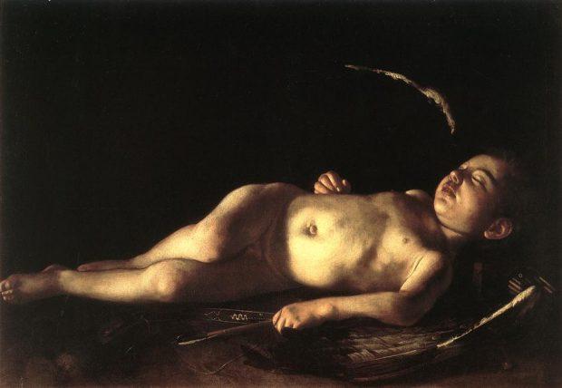 """'Cupido durmiendo"""", 1608, por Caravaggio (1571-1610). Wikimedia Commons."""