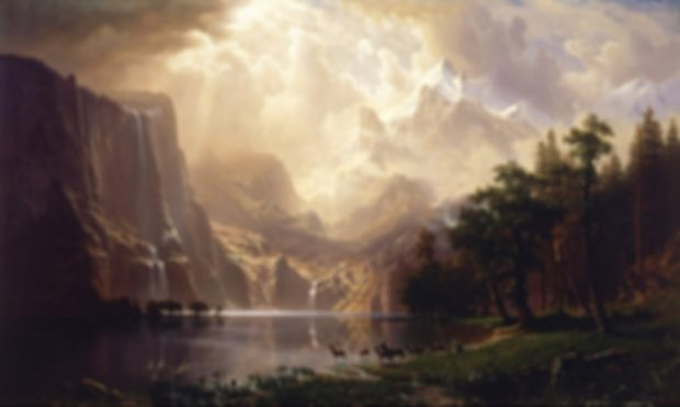 Among the Sierra Nevada, California, de Albert Bierstadt, borroso.
