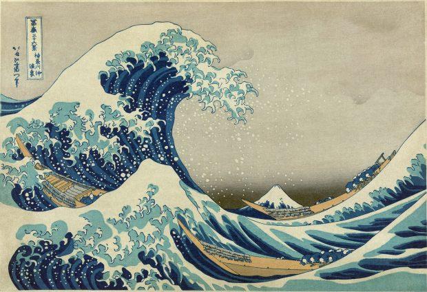 La gran ola de Kanagawa. Autor: Katsushika Hokusai. Wikimedia Commons.