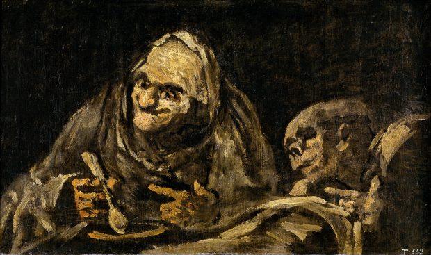 Dos viejos cominedo sopa. Goya. Wikimedia Commons.