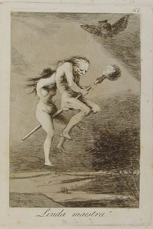 Linda Maestra. Capricho nº 68. Francisco de Goya. Wikimedia.