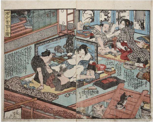 Shunga de Utagawa Kuniyoshi. Wikimedia Commons.