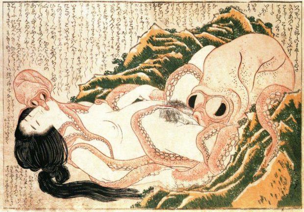 El sueño de la esposa del pescador. Katsushika Hokusai. Wikimedia Commons.
