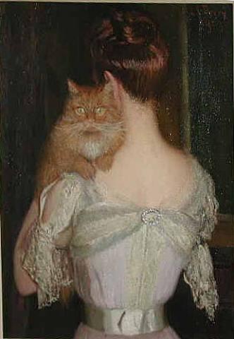 Mujer con Gato. Lilla Cabot Perry (1848-1933). Wikimedia Commons.