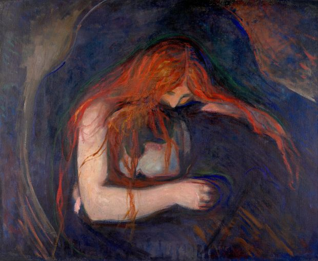 "Vampyren, ""The Vampire"", by Edvard Munch. Wikimedia Commons."