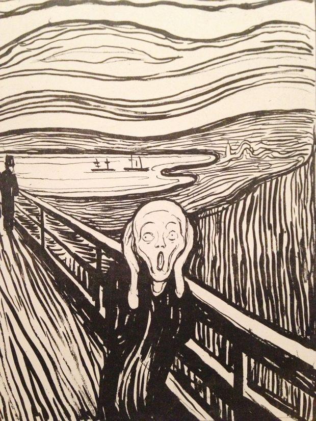 Litografía de El Grito, de Edvard Munch. Wikimedia Commons.