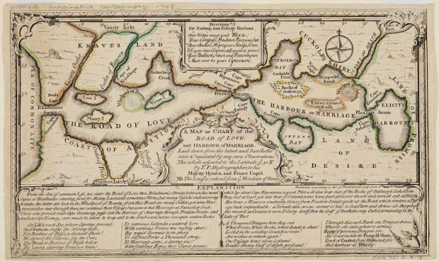 Un mapa o carta del camino del amor y el puerto del matrimonio. Thomas Sayer. 1748. British Library. Public Domain.